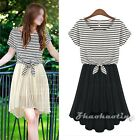 Korean Women Cap Sleeve Stripe Chiffon Summer Pleated Casual Cropped Top & Dress