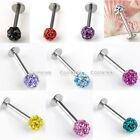 Pick 16G Czech Crystal Stainless Steel Lip Monroe Ring Labret Tragus Piercing