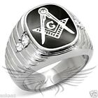 Men's Masonic Freemason Ring Stainless Steel Top Grade Crystal Accented TK8X024