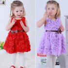 Sweet Red Baby Girls Kids Rose Flower Bowknot Party Dress Outfit 5 Sizes EN24H