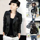 Classic Lady  Synthetic Leather Zip Slim Lapel Short Jacket Coat Outerwear Black