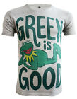 *UK Fit  Kermit The Frog T-shirt Green Is Good Men's Organic Grey T-shirt