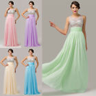 Clear Sheer Formal Wedding Prom Long Dress Beaded Bling Cocktail Ballgown UK6-20