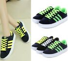 Womens Ladies Striped Lace Up Sneakers Trainers Running Shoes Plus Size 06