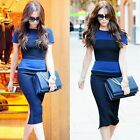 Women's Patchwork Round Neck Color Block Striped Wiggle Dresses UK Local Postage