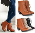 Womens Fashion Lace Up Zipper Stitch Mid Heel Ankle Boots Shoes Plus Size 309-11