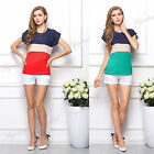 Hot Womens Loose Colorful Stripe T-shirt Casual Short Sleeve Chiffon Tops Blouse