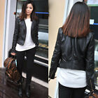 Vogue Womens Slim Black Biker Motorcycle Synthetic Leather Zipper Jacket Coat