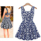 New Women's Euro Fashion Sexy Floral Dress Backless Bowknot Vest Dress WQW485-AU