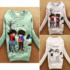 Trendy Cartoon Crew Neck Long Sleeve Womens Sweatshirt Outwear Sweats Tops 6887