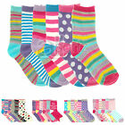 New Childrens Girls 6 Pairs Novelty Patterned Cotton Rich Socks Keep Calm Hearts