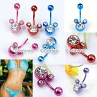 Pick 16G Titanium Plated Crystal Mickey Belly Button Navel Ring Steel Piercing