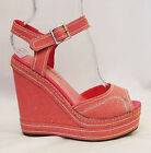 Pink True Vintage1970's/1940's Pin up Platform Wedge Heel Peep Toe Sandals'