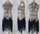 1920's Flapper Black Dress Partywear Great Gatsby Sequin Tassel Sexy SCG 3225