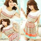Korean Women Sleeveless Colorful Stripe Bowknot Chiffon Skirt Dress With Belt