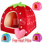 Soft Strawberry Pet Igloo Dog Cat Bed House Kennel Doggy Fashion Cushion Pad UK