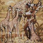 AFRICAN WOMAN WITH GIRAFFES - CROSS STITCH CHART
