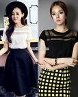 Korean Style Womens Chiffon Short Sleeve Crew Neck Casual Shirt Blouse Top S0BZ