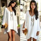 Fashion Sexy Womens V-neck Long Sleeves Chiffon Blouse Party Cocktail Mini Dress