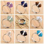 Silver Plated Natural Quartz Gems Crystal Adjustable Finger Rings Hexago Healing