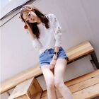 New Spring Fall Lace Blouse Hollow Long-sleeve Casual Sweatshirt Cotton T-shirt