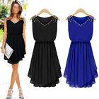Women casual loose sleeveless chiffon diamond Party Cocktail pleated mini dress