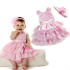 Lovely baby girl's flower Christening Wedding party dress with headband