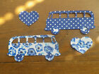 VW CAMPERVAN X 2 in dotty/floral shabby chic IRON ON FABRICS for Applique Sewing