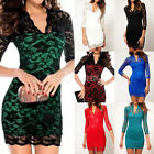 Elegant Women's Sexy V-neck Slim Lace Pencil Fit Mini Dress Cocktail Party