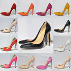 Women High Heels Pointed Toe Pump Party Dressy Shoes Stilettos PU Patent Leather