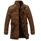 2014 Men's coat collar motorcycles leather jacket trench coat velvet windbreaker
