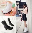 Womens Ladies Pointed Toe Metal Zipper Mid Heel Ankle Boots Shoes Plus Size F7-2