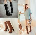 Womens Ladies Faux Suede Lace Up Side Zip High Heel Mid Calf Boots Shoes 006
