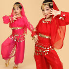 Girls Kids Belly Dance Costume Outfit Top Pants Bollywood Halloween Indian Dance