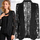 Fashion Woman Coat Hook Lace Hollow Solid Suit Slim Jacket Business Outwear New