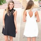 Women Celeb Floral Sheer Lace Crochet Trim Cocktail Party Club Sexy Dress White