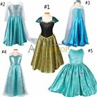 Frozen Elsa Cosplay Queen Anna Costume Girls Princess Fancy Halloween Gown Dress