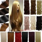 "Longest 17-27"" 3/4 Full Head One Piece Clip in Hair Extensions USA colorfull"