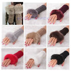 Hot Women Faux Rabbit Fur Hand Wrist Winter Warmer Fingerless Long Mitten Gloves