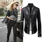 Biker Motorcycle Coat PU Soft Leather Tassel Black Jacket Punk Tops Women N98B