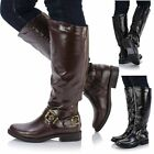 Ladies Women Leather Style Knee High Flat Sole Low Heel Biker Riding Boots Shoes