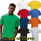 Hommes 3 Pack Fruit of the Loom Véritable Complet Coupe T Chemise 10 - Shirt