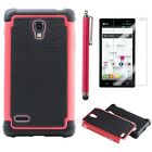 Pen+Hybrid Rugged Heavy Duty Hard/Soft Case Cover Red for LG Optimus + Protect