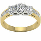 3 Stone Engagement Ring SI1 H 1.70Ct Real Diamond 14Kt Two-Tone Gold Size 4-12