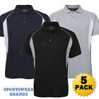 5 x Mens Insert Workout Gym Polo Shirt Sports Quick Dry Navy Black Grey New 7IP