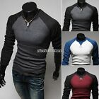 Men's Fashion Casual Slim Fit Crew-neck Long Sleeve Top Tee T-shirt 3 Colors N98