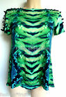 Katie Eary River Island Green Lizard Print Eyelet Trim Top Tunic T-Shirt UK 8 10