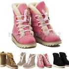 Womens Snow Winter Casual Flat Faux Leather Fur Fashion Ankle Boots Shoes
