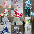 HANDMADE Silk Crystal Bridal& Bridesmaid flowers for wedding bouquet 8 colours