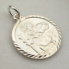 925 SOLID SILVER ST CHRISTOPHER ROUND PENDANT CHAIN & ENGRAVING OPTIONS GIFT